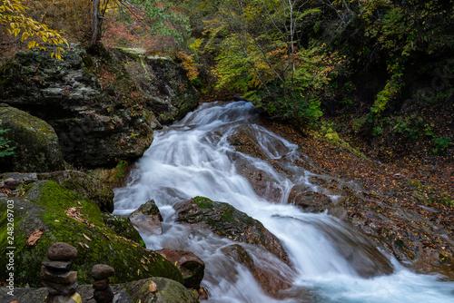 Waterfall in Yokoya Gorge during autumn