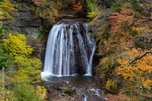 Waterfall in Yokoya Gorge during autumn