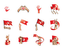 Tunisia Flag And Hand On White...