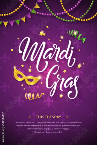 Mardi gras brochure. Fat tuesday greeting card with handwritten lettering logo and golden mask. Shining beads and flags on traditional colors background Wall mural