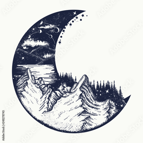Moon and mountains tattoo and t-shirt design. Infinite space, meditation symbols, travel, tourism. Surreal graphics Wall mural