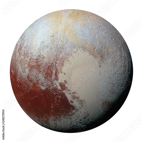 фотография Full disk of planet Pluto globe from space isolated on white background