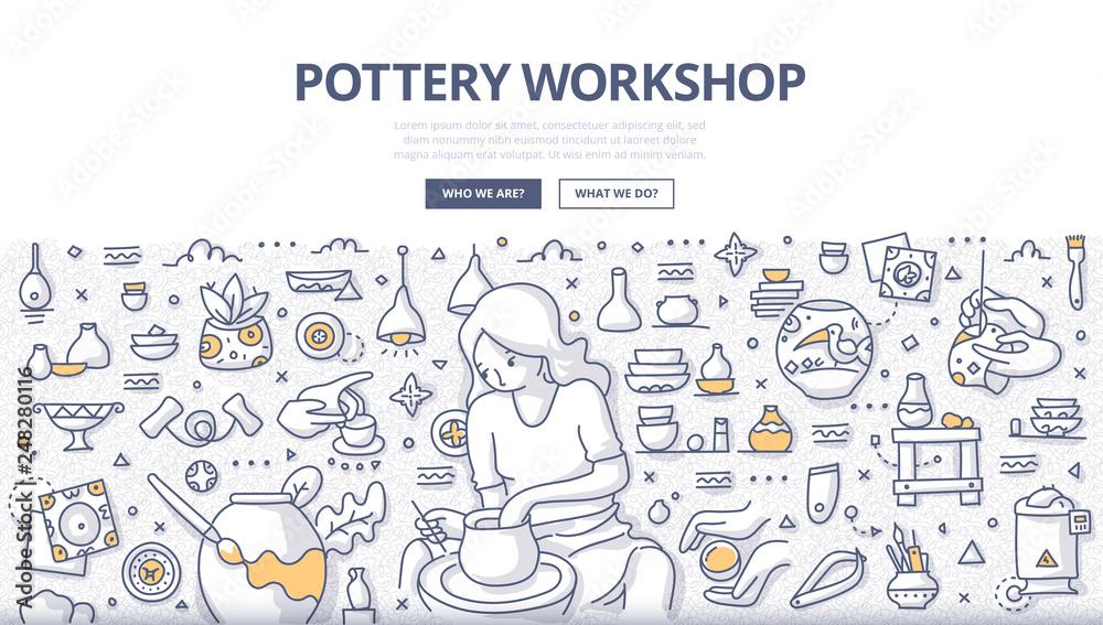 Fototapety, obrazy: Pottery Workshop Doodle Concept