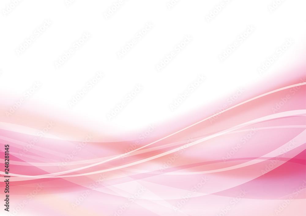アブストラクト 波 なめらか 曲線 背景 ピンク