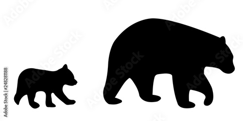 Vector illustration of a silhouetted mother bear and cub Canvas Print