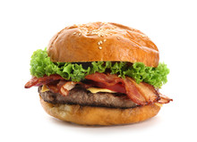 Delicious Burger With Bacon On...