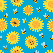 Vector Pattern With Flying Cartoon Bees Isolated On Blue Background