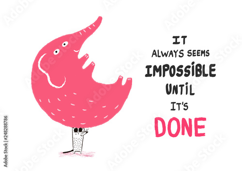 Valokuva Anything is possible! A mouse holding an elephant, vector illustration