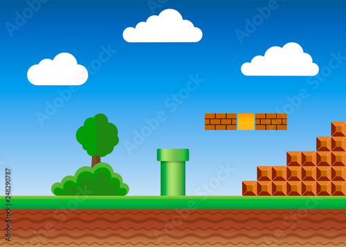 Old video game. retro style Background. Vector illustration. Canvas Print