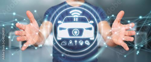Cuadros en Lienzo  Businessman using modern smart car interface 3D rendering