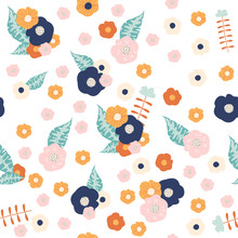 Seamless Pattern With Simple Flowers And Leaves. Vector Hand Drawn Illustration.