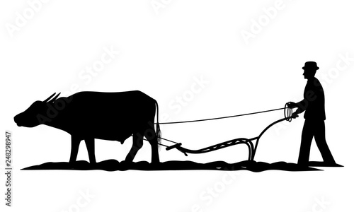 Photo  silhouette farmer plow vector design