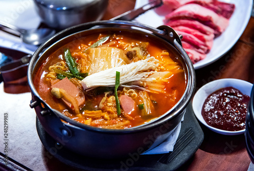 Photo  Korean spicy sausage stew with vegetables