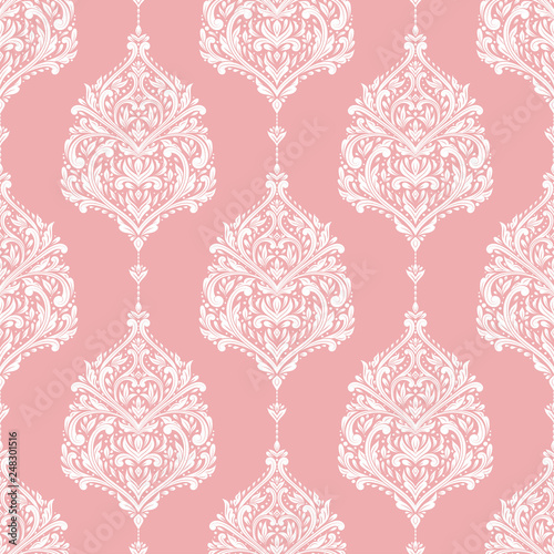 Pink And White Damask Vector Seamless Pattern Wallpaper