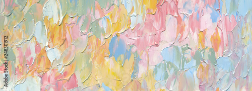 Highly-textured colorful abstract painting background. Palette knife. Texture of oil paint. High detail. Can be used for web design, art print, textured fonts, figures, shapes, etc.
