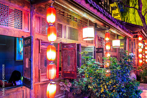 Nightscape of Chengdu Ancient Town, Sichuan Province, China..