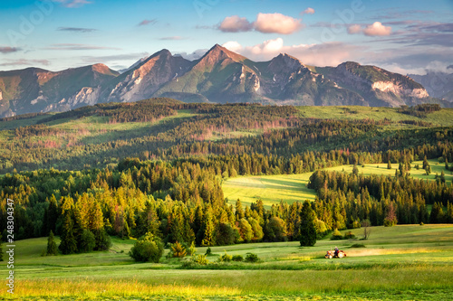Sunset at Belianske Tatra mountains in summer, Poland
