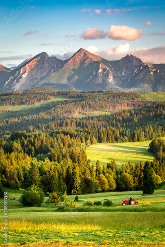 Stunning Belianske Tatra mountains at sunset in Poland