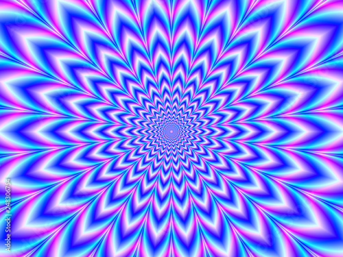 Crinkle Cut Pulse in Blue Pink and Violet / A digital abstract fractal image with an optically challenging psychedelic design in blue, pink and violet, - 248306754