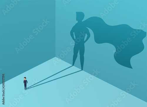 Cuadros en Lienzo Businessman with shadow superhero