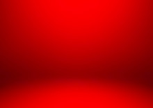 Empty Red Color Studio Room Background, Used For Display Or Montage Of Product, Vector Illustration.