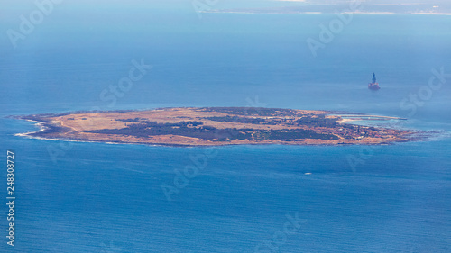 Obraz na plátně Aerial view of Robben island - location of most famous prison in South Africa