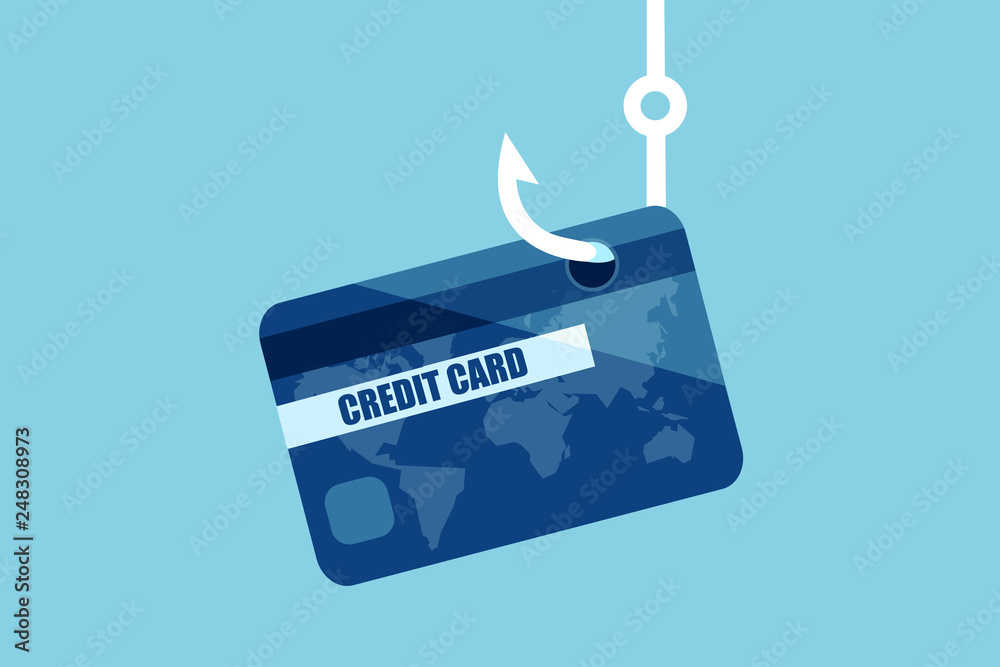 Fototapeta Vector of a credit or debit bank card on a fishing hook.