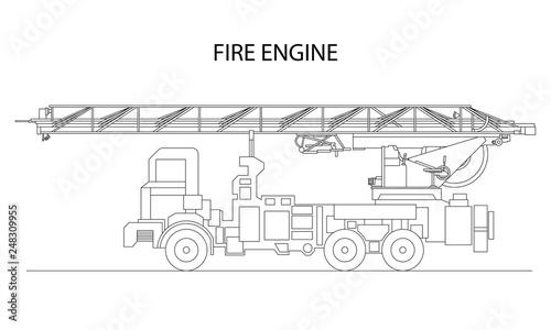 Fototapeta Classic cartoon hand drawn detailed fire engine / fire truck, profile view. Vector illustration obraz na płótnie