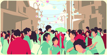 Illustration Of Crowded Asian ...