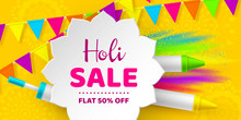 Holi Sale Promotional Background.