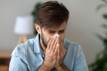 Sick Man Got Flu Allergy Sneez...