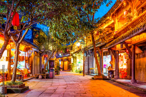 Foto auf Leinwand Braun Nightscape of Chengdu Ancient Town, Sichuan Province, China..