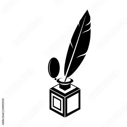 Fotografie, Obraz  Black Feather Pen Silhouette Isolated on White Background
