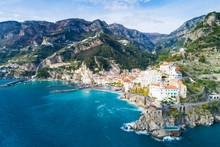 Aerial View To Lagoon Of Amalfi Coast In Italy