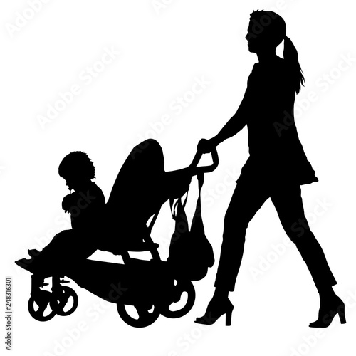 Fotografia  Silhouettes walkings mothers with baby strollers on white background