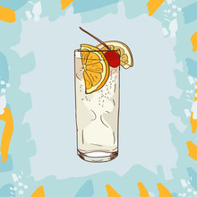 Tom Collins Cocktail Illustration. Alcoholic Classic Bar Drink Hand Drawn Vector. Pop Art
