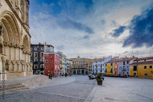the buildings in the Plaza Mayor square of the city of Cuenca