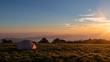 Tent campsite at sunrise on Huckleberry knob in North Carolina