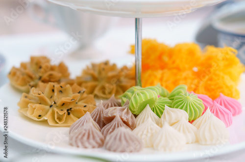 colorful allure or alua and crispy lotus blossom cookie with shredded egg yolk t Wallpaper Mural