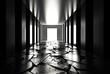 Background of empty room, corridor with concrete floor, tiles. Columns, spotlight, smoke