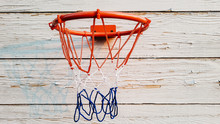 Children's Basketball Basket Attached To A Wooden Wall