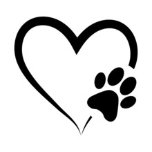Animal Love Symbol Paw Print W...
