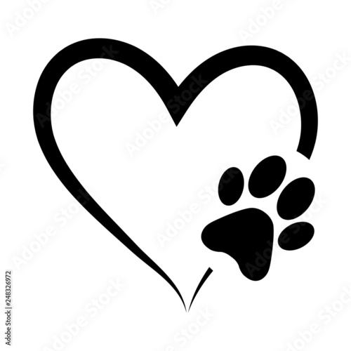 Animal love symbol paw print with heart, isolated vector Fototapete