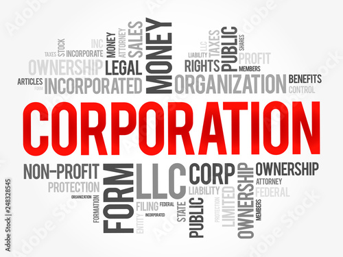 Photo  Corporation word cloud collage, business concept background