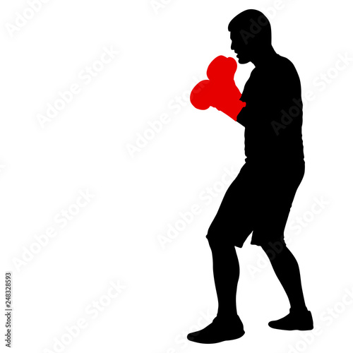 Photo  Black silhouette of an athlete boxer on a white background