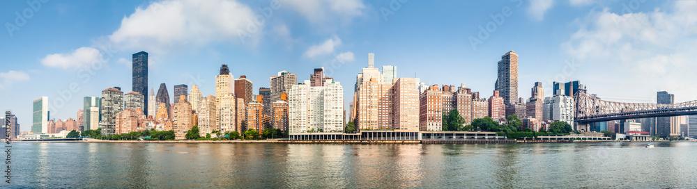Amazing panorama view of New York city skyline and Queensboro Bridge