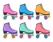 Sport Style Hipster Fashion Set Of Retro Colorful Roller Skates