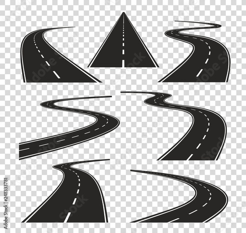 Roads in perspective. Bended pathway road curved city street to horizon. Journey asphalt highway isolated vector set