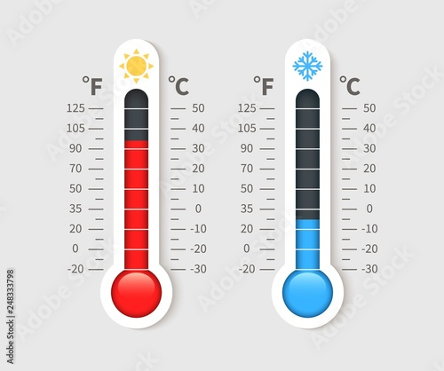 Fototapeta Cold warm thermometer. Temperature weather thermometers with celsius and fahrenheit scale. Thermostat meteorology vector isolated icon obraz