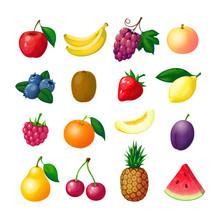 Cartoon Fruits And Berries. Apple Banana Grape Peach Blueberry Kiwi Lemon Strawberry Raspberry Melon Plum Pear Pineapple Vector Set